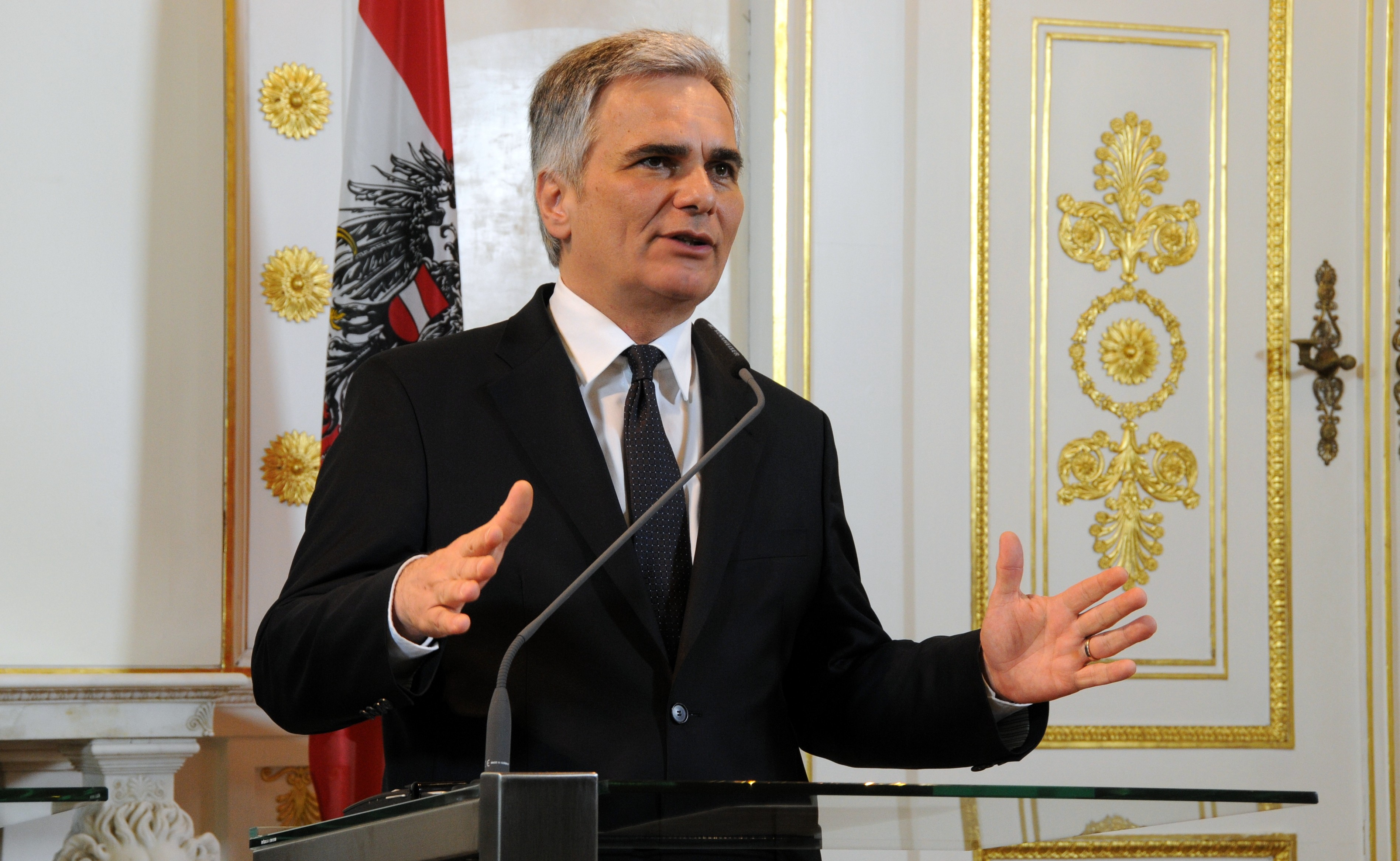 VIENNA, Jan. 31, 2013 Austrian Chancellor Werner Faymann gestures as he attends a joint press conference together with European Commission President Jose Manuel Barroso(Unseen) in Vienna, Austria on January 31, 2013. (Credit Image: ZUMAPRESS.com/Global Look Press)
